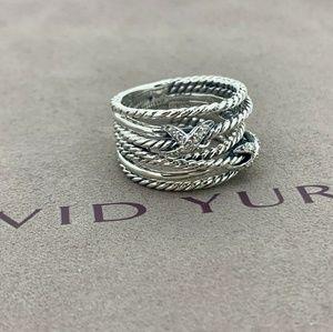 David Yurman Double X Ring With Diamonds Sz 7.5